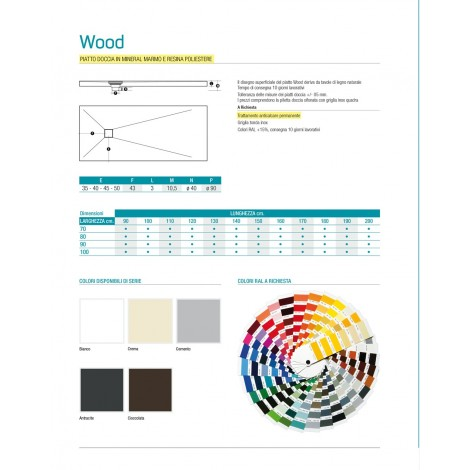 PIATTO DOCCIA 80  / 100  Wood Bordato