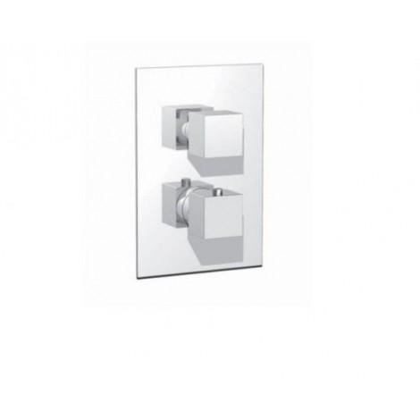 Miscelatore termostatico con deviatore 2 vie maniglie tquadre cromo Cod. RU102B01Q