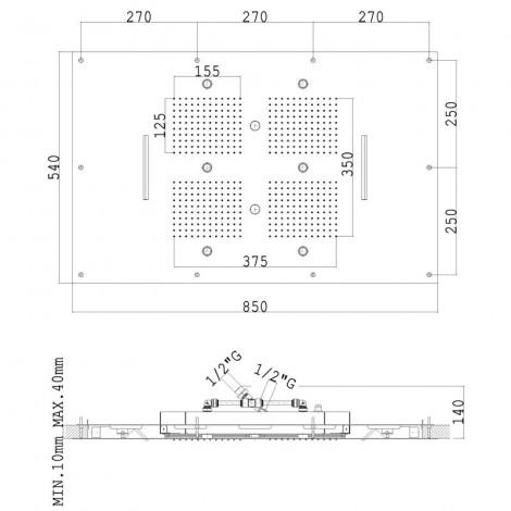 SOFFIONE INCASSO A CONTROSOFFITTO D 850x540 mm