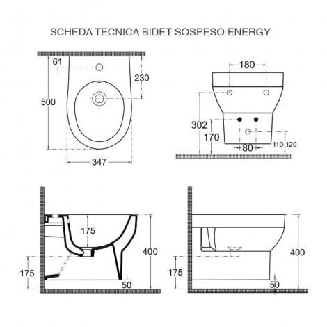 BIDET ENERGY SOSPESA SCHEDA TECNICA