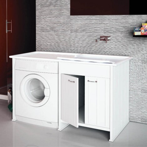 Lavanderia Compatta con vano porta lavatrice a vista L124 con ante