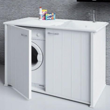 Lavanderia Compatta con vano porta lavatrice chiuso due ante