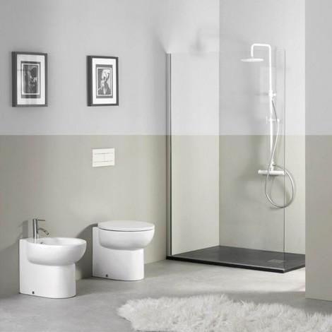 Sanitari filo muro Axa serie Prime con copriwater soft close a sgancio rapido