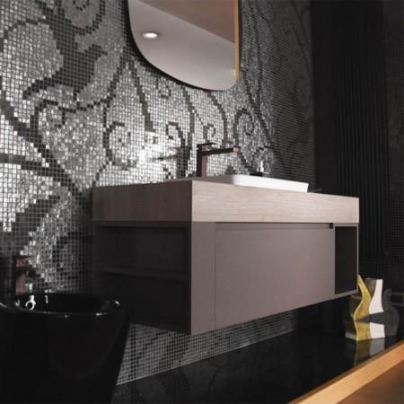 Kios mobile da bagno sospeso Pandora evo top, cassetone, lavabo, specchio e faretto