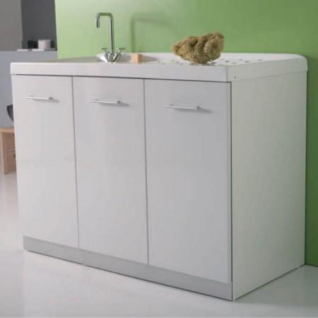 Mobile vano lavatrice con ante intra L124 P61 Luna rossa