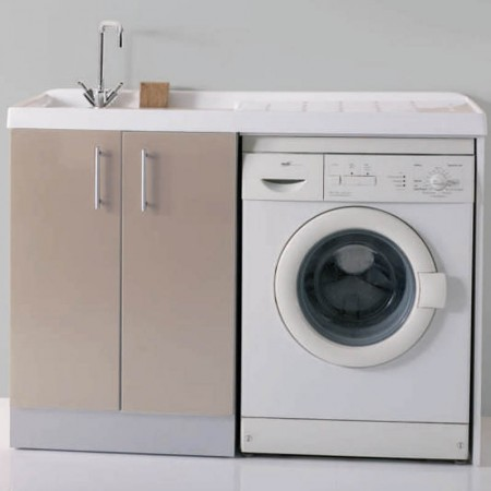 Mobile lavanderia vano lavatrice a vista Intra L124 P61 H90 Luna rossa destra