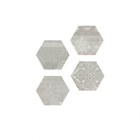 Esagona Patchwork Pearl grey 25,5x29,4 naturale Gesso