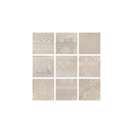 Patchwork taupe 20x20 naturale Gesso