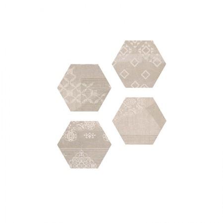 Esagona Patchwork taupe 25,5x29,4 naturale Gesso