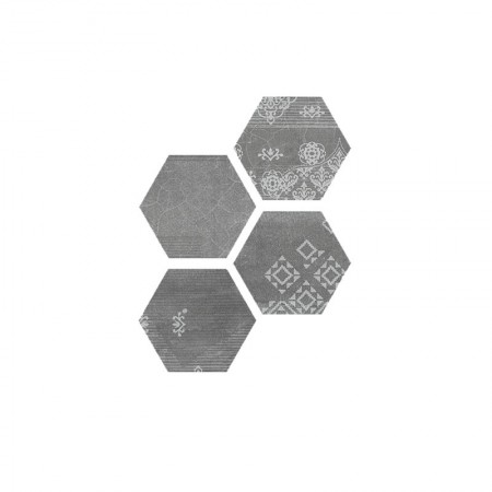 Esagona Patchwork black velvet 25,5x29,4 naturale Gesso