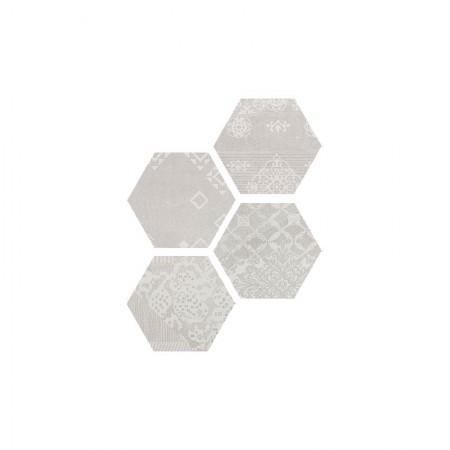Esagona Patchwork white 25,5x29,4 naturale Gesso