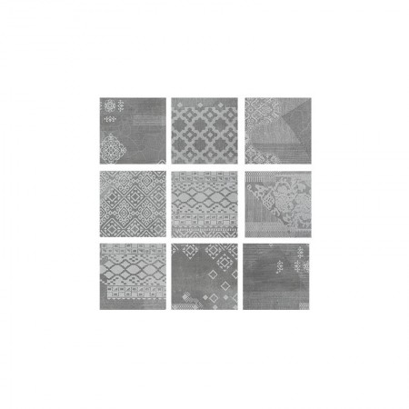 Patchwork black velvet 20x20 naturale Gesso