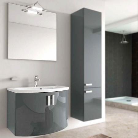 Mobile bagno sospeso con ante H48 P51 L70 Flash curvo con specchio e lavabo