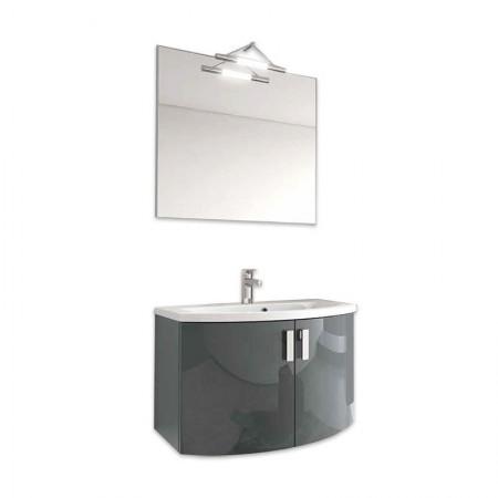 Mobile bagno sospeso con ante H48 P51 L90 Flash curvo con specchio e lavabo