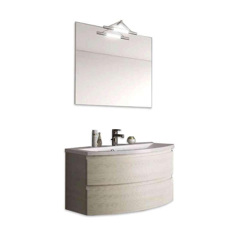 Mobile bagno sospeso con cassettoni H48 P51 L90 Flash curvo con specchio e lavabo