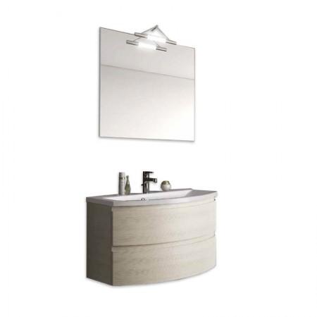 Mobile bagno sospeso con cassettoni H48 P51 L70 Flash curvo con specchio e lavabo