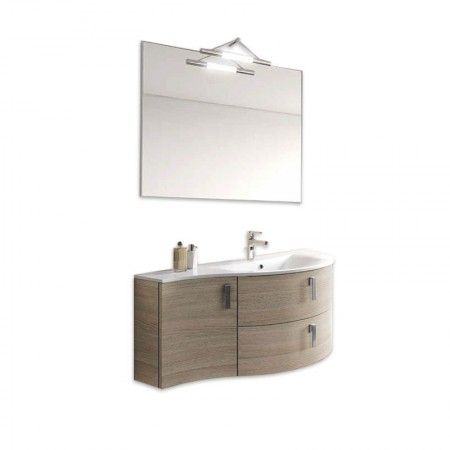 Mobile bagno sospeso 2 cassetti 1 anta H48 P51 L100 Flash curvo con specchio e lavabo destra