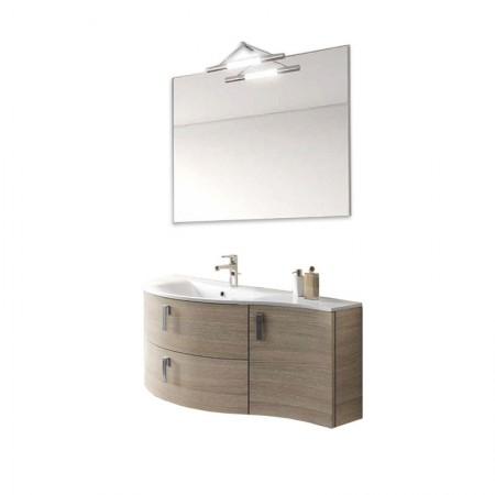 Mobile bagno sospeso vasca sx 2 cassetti 1 anta H48 P51 L100 Flash curvo specchio