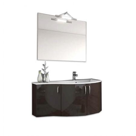 Mobile bagno sospeso vasca dx 3 anta H48 P51 L102,6 Flash curvo con specchio