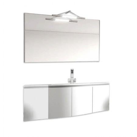 Mobile bagno sospeso 4 ante H48 P51 L135,2 Flash curvo con specchio e lavabo