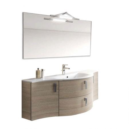 Mobile bagno sospeso 2 ante 2 cassettoni H48 P51 L135,2 Flash curvo con specchio e lavabo