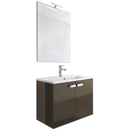 Mobile bagno sospeso 2 ante H48 P51 L70 Flash con specchio e lavabo