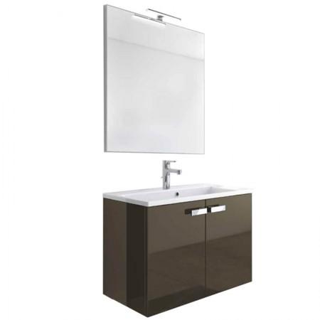 Mobile bagno sospeso 2 ante H48 P51 L85 Flash con specchio e lavabo