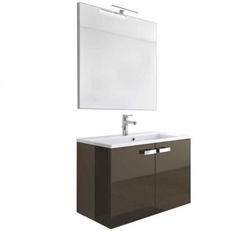 Mobile bagno sospeso 2 ante H48 P51 L95 Flash con specchio e lavabo