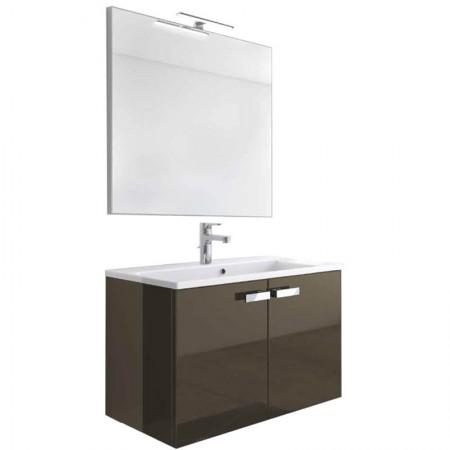 Mobile bagno sospeso 2 ante H48 P51 L105 Flash con specchio e lavabo