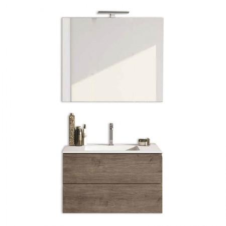 Mobile bagno sospeso 2 cassettoni H48 P51 L70 Flash con specchio e lavabo