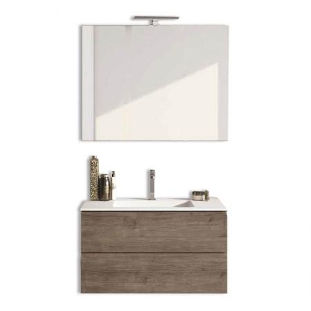 Mobile bagno sospeso 2 cassettoni H48 P51 L85 Flash con specchio e lavabo