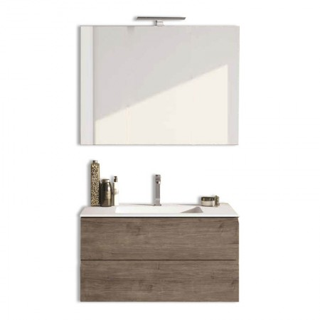 Mobile bagno sospeso 2 cassettoni H48 P51 L95 Flash con specchio e lavabo