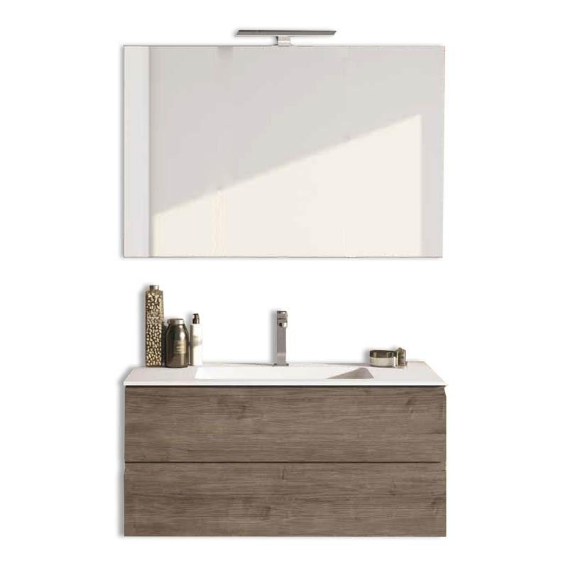 Mobile bagno sospeso 2 cassettoni H48 P51 L120 Flash con specchio e lavabo