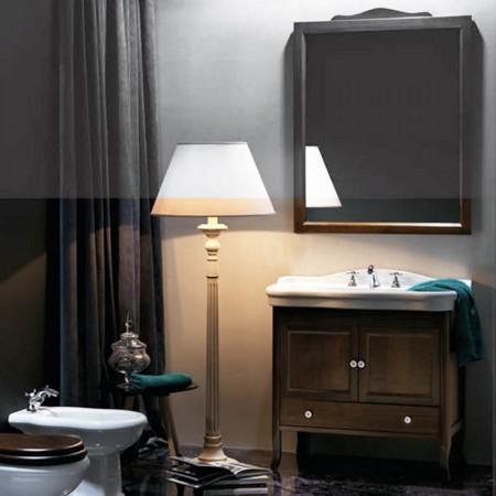 Consolle lavabo in ceramica bianca Contea con mobile e specchio