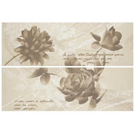 Decoro fiori beige/rosso/tabacco 32,5x97,7 Oficina7