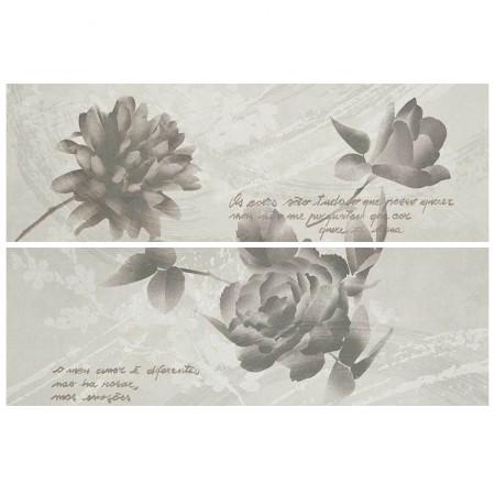 Decoro fiori bianco/grigio/rosso 32,5x97,7 Oficina7