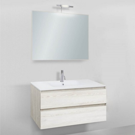 Mobile da bagno sospeso Slim 91 lavabo in ceramica senza colonna