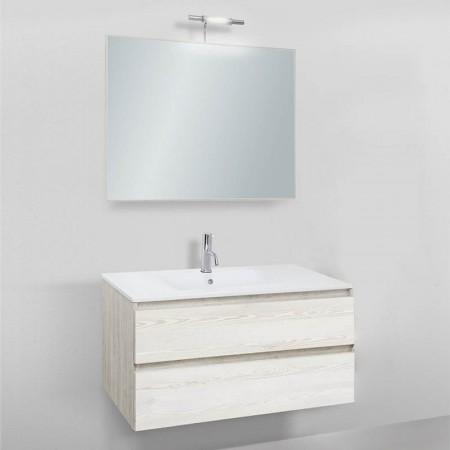 Mobile da bagno sospeso Slim 91 con specchio lavabo in resina