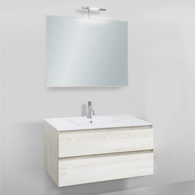 Mobile da bagno sospeso Slim 91 lavabo in resina
