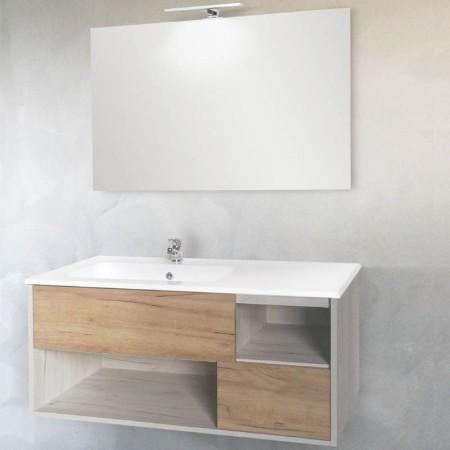 Mobile bagno sospeso Smart 105 2 cassetti 2 vani incrocio con specchio e applique