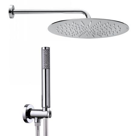 Soffione doccia tondo 200x200 mm e doccetta Tetis