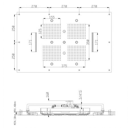 SOFFIONE SF001C Acciaio Lucido INCASSO A CONTROSOFFITTO 850x540 mm