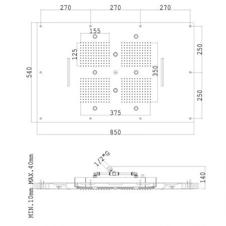 SOFFIONE SF003B Acciaio Lucido INCASSO A CONTROSOFFITTO 850x540 mm