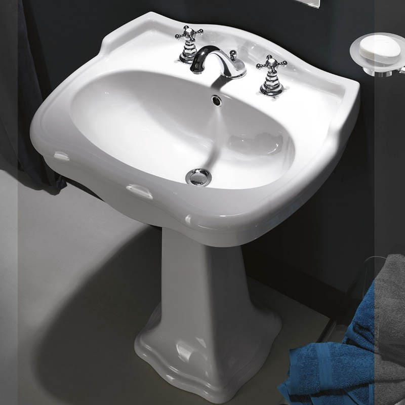 Lavabo per colonna o sospeso Axa serie Contea ceramica bianca